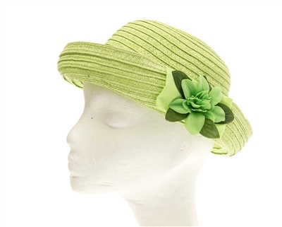 bulk straw hat girls roll up brim with flower
