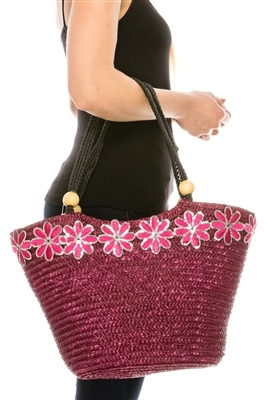 extra large straw tote with flowers bulk beach bags