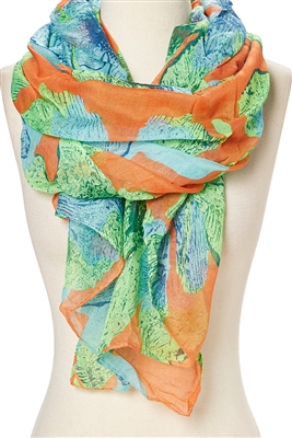 scarves distributors orange blue green daisy print scarf