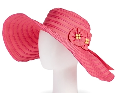 wide brim ribbon hat pink shapeable brim bulk fashion accessories los angeles