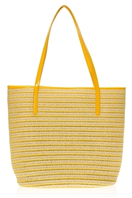 yellow straw striped overstock beach bags
