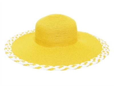 yellow wide brim floppy bulk straw hats for sale